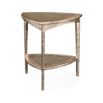 Jonathan Charles Silver Espresso Triangular Side Table
