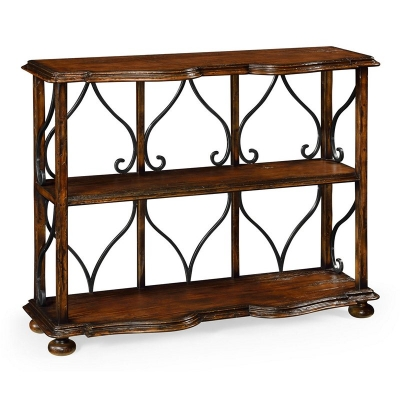 Jonathan Charles Two Tier Bookcase in Rustic Walnut