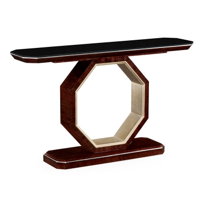 Jonathan Charles Console Table in Figured Eucalyptus with Black Glass Top