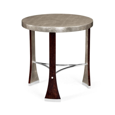 Jonathan Charles Round Side Table with Stainless Steel Detailing