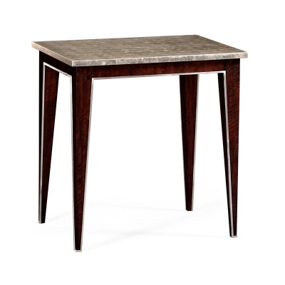 Jonathan Charles Rectangular End Or Lamp Table with Stainless Steel Detailing