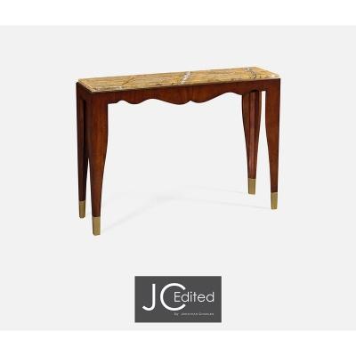 Jonathan Charles Mahogany Console Table with Bidasar Gold Marble Top