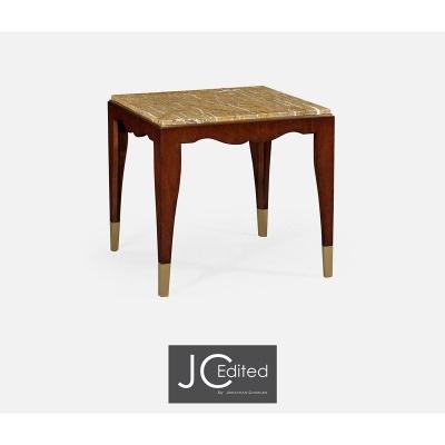 Jonathan Charles Mahogany Square Side Table with Bidasar Gold Marble Top