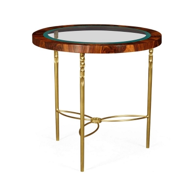 Jonathan Charles Round Side Table in Tropical Walnut Crotch with Brass Base