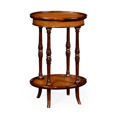 Jonathan Charles Mahogany and Leather Inlaid Oval Lamp Table