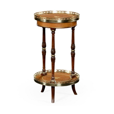 Jonathan Charles Mahogany and Leather Inlaid Round Lamp Table