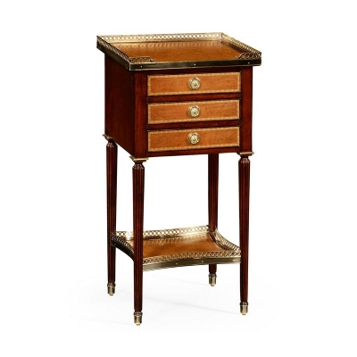Jonathan Charles Mahogany and Leather Inlaid Lamp Table with Drawers