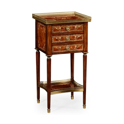 Jonathan Charles Burl and Mother of Pearl Inlaid Lamp Table