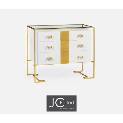 Jonathan Charles Gilded Iron Chest of Drawers in Biancaneve
