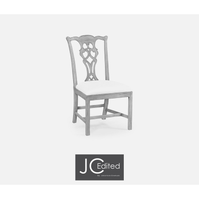 Jonathan Charles Grey Mahogany Side Chair Upholstered
