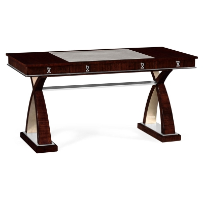 Jonathan Charles Desk in Figured Eucalyptus with Stainless Steel Detailing