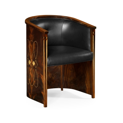 Jonathan Charles Knightbridge Dining Chair Upholstered in Black Leather