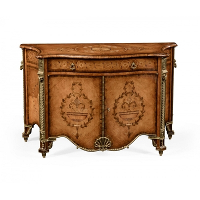 Jonathan Charles Chippendale Style Inlaid Cabinet Chest of Drawers