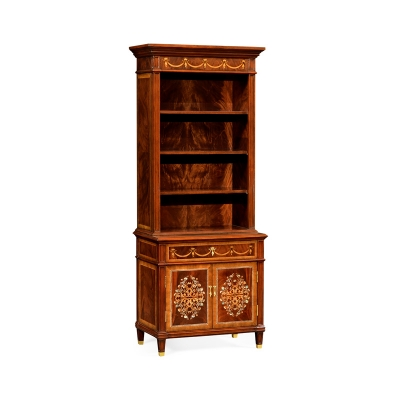 Jonathan Charles Mahognay Bookcase with Mother of Pearl and Marquetry