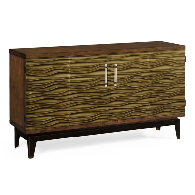 Jonathan Charles Chestnut Cabinet with Textured Bronze Antique Rub Through Doors
