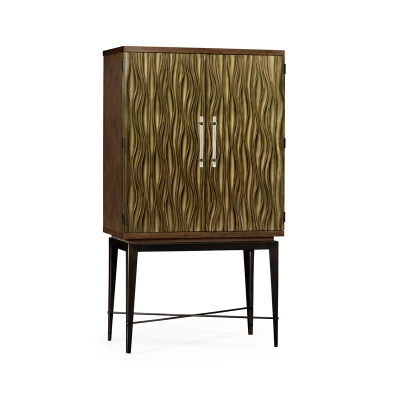 Jonathan Charles Chestnut Drinks Cabinet with Textured Bronze Antique Rub Through Doors