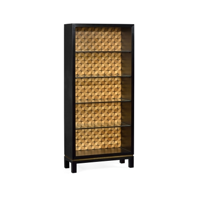 Jonathan Charles Black Painted Cabinet with Interior Geometric Shape