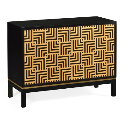 Jonathan Charles Black Painted Cabinet with Geometric Shape