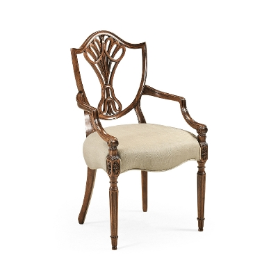 Jonathan Charles Sheraton Dining Arm Chair with Shield Back in Antique Mahogany
