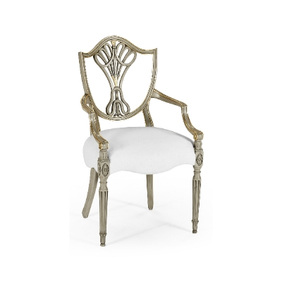Jonathan Charles Sheraton Grey and Gilded Dining Arm Chair with Shield Back