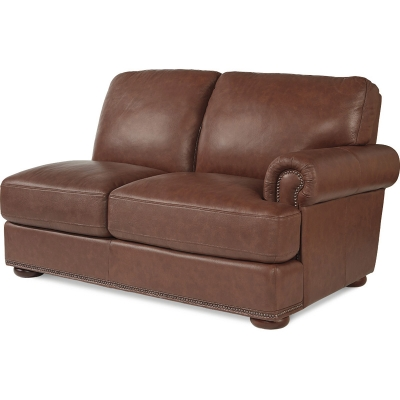 Lazboy Left Arm Sitting Leather Loveseat with Brass Nail Head Trim