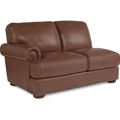 Lazboy Right Arm Sitting Loveseat with Brass Nail Head Trim