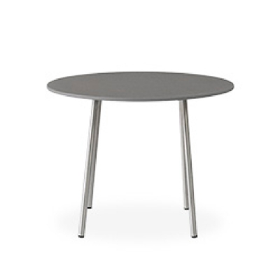 Lloyd Flanders 24 inch Round End Table with Light Gray Corian Top