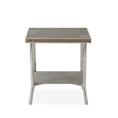 Lloyd Flanders 20 inch Square End Table with Taupe Glass