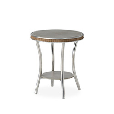 Lloyd Flanders 20 inch Round End Table with Taupe Glass