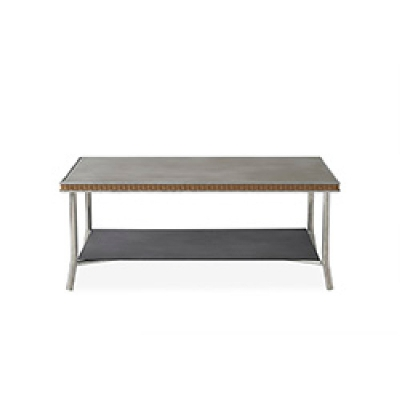 Lloyd Flanders 42 inch Rectangular Cocktail Table with Taupe Glass