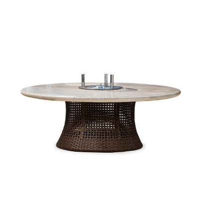 Lloyd Flanders 48 inch Round Conversation Fire Table