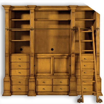 Old Biscayne Designs Finch Wall Unit and Ladder Entertainment