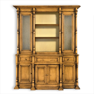 Old Biscayne Designs Cabinet with Seedy Glass Doors