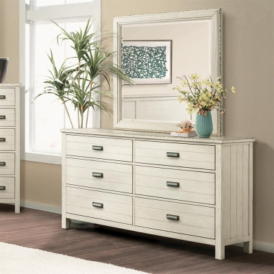 Riverside Six Drawer Dresser and Mirror