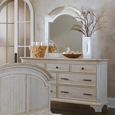 Riverside Seven Drawer Dresser and Arch Mirror
