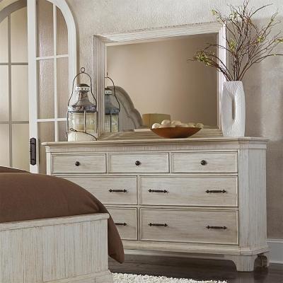 Riverside Seven Drawer Dresser and Landscape Mirror