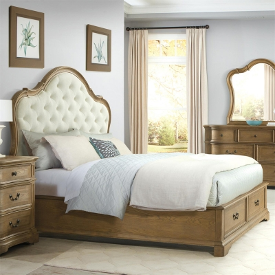 Riverside Upholstered Panel Bed with Storage Footboard