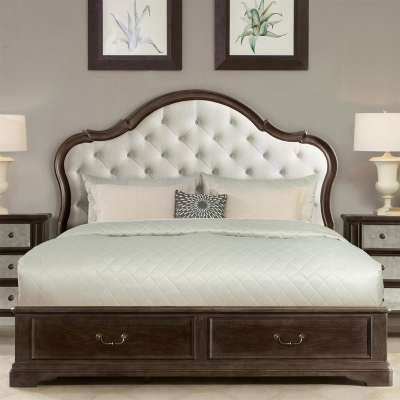 Riverside Upholstered Bed with Storage Footboard