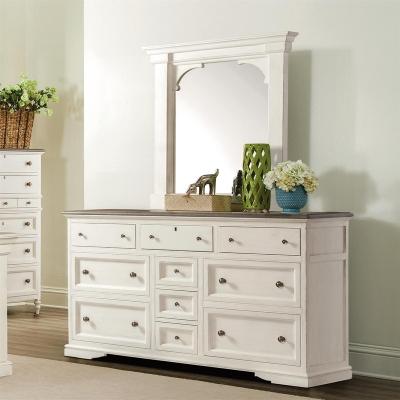 Riverside Ten Drawer Dresser and Bracket Mirror