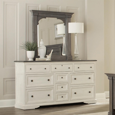 Riverside Ten Drawer Dresser and Bracket Mirror