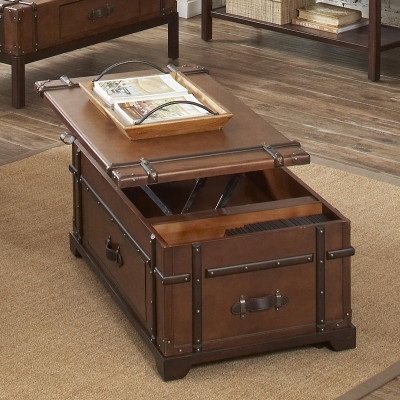 Riverside Steamer Trunk Lift Top Coffee Table