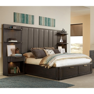 Riverside California King Tall Upholstered Storage Bed
