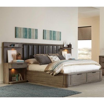 Riverside California King Low Upholstered Storage Bed