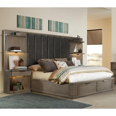 Riverside Queen Tall Upholstered Storage Bed