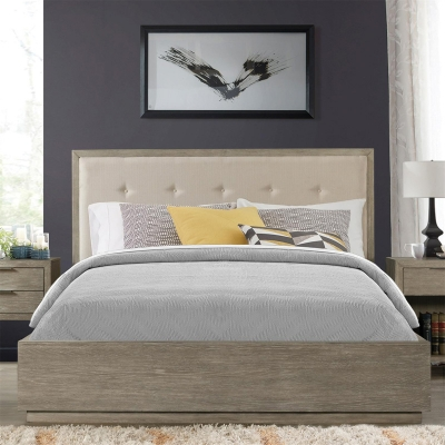 Riverside King Upholstered Panel Bed