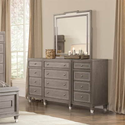 Riverside Twelve Drawer Dresser and Mirror
