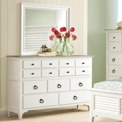 Riverside Nine Drawer Dresser and Shadowbox Mirror
