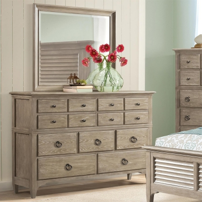 Riverside Nine Drawer Dresser and Shadowbox Mirror