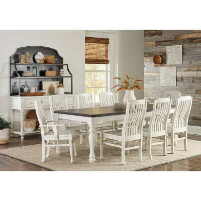 Laurel Mercantile 90 Inch Turned Leg Dining Table with Cream Base and Natural Top