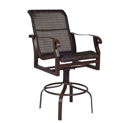 Woodard Round Weave Swivel Bar Stool